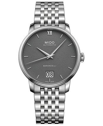 Мужские швейцарские автоматические часы-браслет Baroncelli III из нержавеющей стали 40мм MIDO