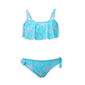 Little Girl's & Girl's Ocean Star Flounce Bikini Snapper Rock