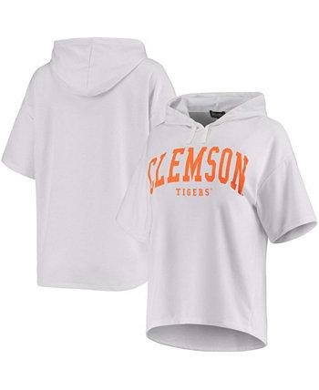 Женская белая толстовка с капюшоном Clemson Tigers Flowy Tri-Blend с короткими рукавами и короткими рукавами Gameday Couture