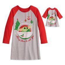Jammies For Your Families® для девочек от 4 до 10 Звездные войны Мандалорианец The Child aka Baby Yoda Ночное платье и комплект кукол Jammies For Your Families