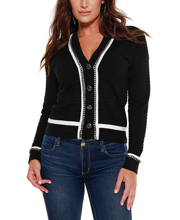 Women's Black Label Button Down Cardigan with Chain Detail Belldini