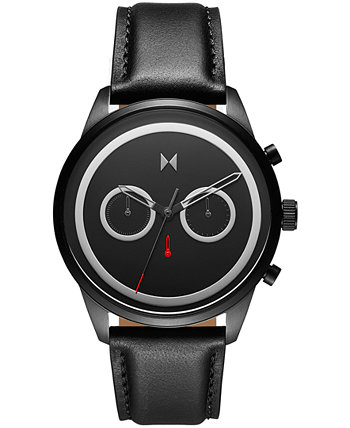 Мужские часы с хронографом Powerlane с черным кожаным ремешком 43 мм MVMT