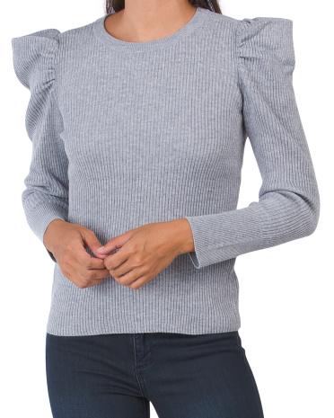 Свитер с объемными плечами в рубчик Cliche