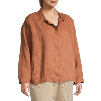 Plus Organic Linen Shirt Jacket Eileen Fisher
