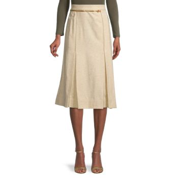 Юбка трапециевидной формы с поясом-цепочкой Victoria Beckham