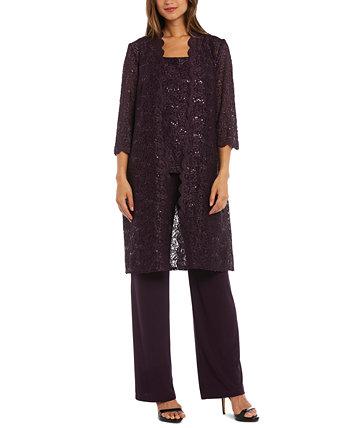 Petite 3-Pc. Кружевной пиджак, топ и брюки с блестками R & M Richards