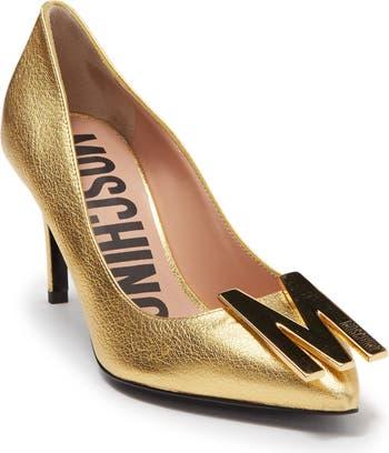 Туфли-лодочки с острым носком и фурнитурой с логотипом Moschino