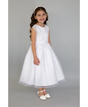 Платье для причастия с вышивкой из искусственного болеро для больших девочек с короткими рукавами и юбкой из органзы Us Angels