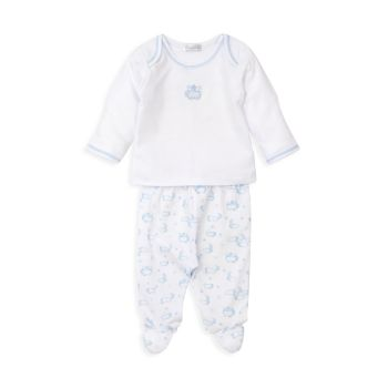 Двухкомпонентный топ с вышивкой и вышивкой Baby Boy Twilight Twinkle и amp; Комплект брюк Footed Kissy Kissy