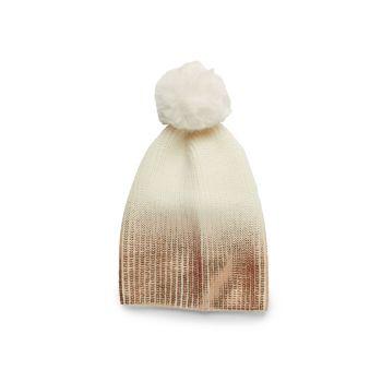 Вязаная шапка с эффектом металлик омбре с помпонами из искусственного меха JOCELYN