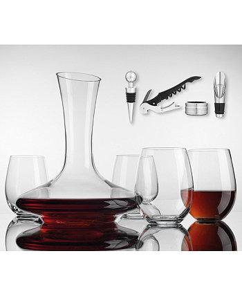 Набор графина для вина с 4 бокалами без ножек, пробкой, наливом, штопором и воротником Godinger