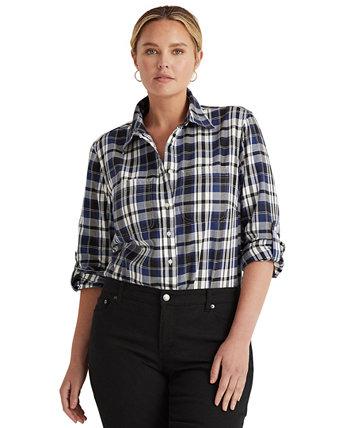 Рубашка на пуговицах большого размера в клетку Roll Tab Ralph Lauren