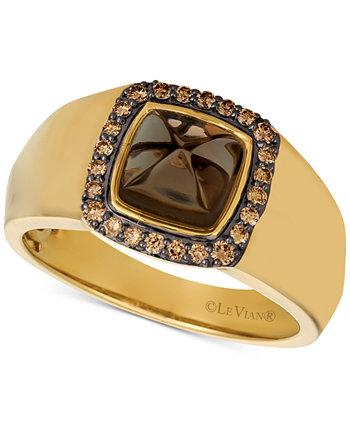 Мужское кольцо Gents ™ с шоколадным кварцем и бриллиантом (1/4 карата) из золота 585 пробы Le Vian