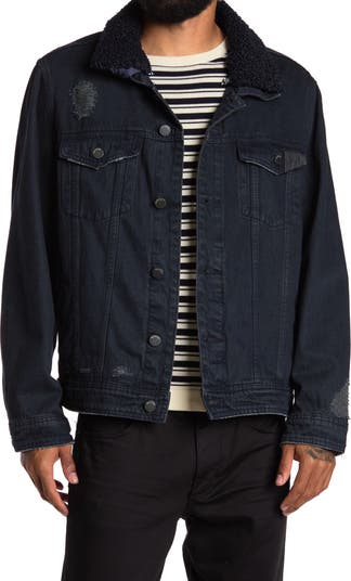 New Year Faux Shearling Collar Distressed Denim Jacket BLANKNYC