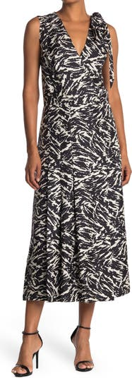Zebra Print Surplice Sleeveless Silk Maxi Dress Jason Wu