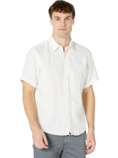 Устойчивая к морщинам льняная рубашка с короткими рукавами Calvano UNTUCKit