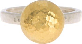 Кольцо из чечевицы из золота 24 карат и стерлингового серебра - Размер 6.5 Gurhan