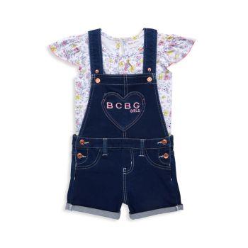 Двухкомпонентный топ Little Girl с цветочным рисунком и цветочным узором Комплект шортоллов BCBG Girls