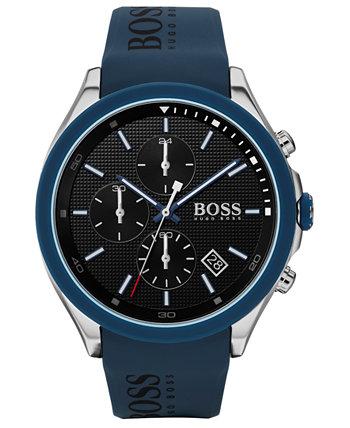 Мужские часы-хронограф с синим силиконовым ремешком 45 мм HUGO BOSS