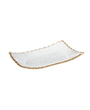 """Crystal Tray 10"""" X6"""" with Gold Band Godinger"""