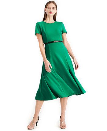Платье миди с поясом A line Calvin Klein