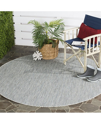"Courtyard Gray and Navy 6'7"" x 6'7"" Round Area Rug Safavieh"