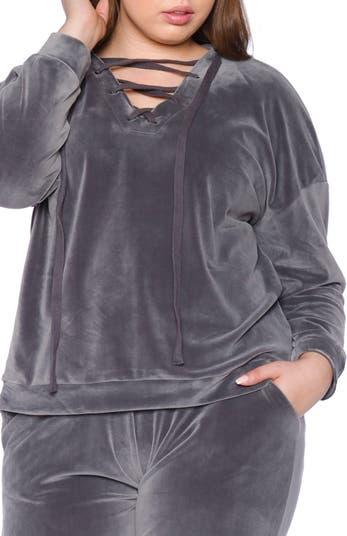 Велюровая толстовка с капюшоном на шнуровке SLINK JEANS