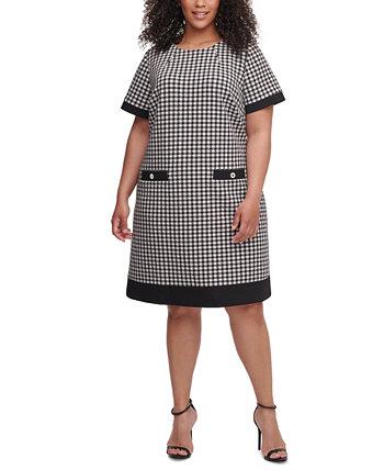 """Платье большого размера с короткими рукавами и узором """"гусиные лапки"""" Tommy Hilfiger"""