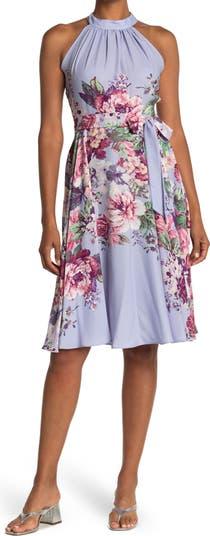 Halter Neck Floral Crepe Dress Gabby Skye