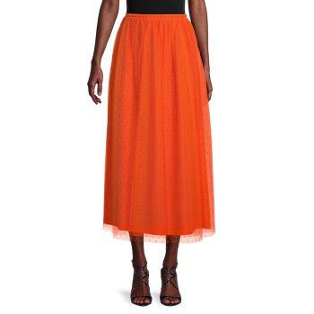 Кружевная юбка-миди в швейцарский горошек REDValentino