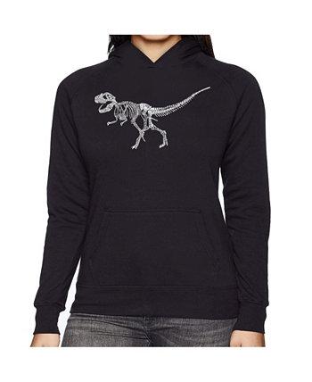 Женская толстовка Word Art с капюшоном - Динозавр T-Rex Skeleton LA Pop Art