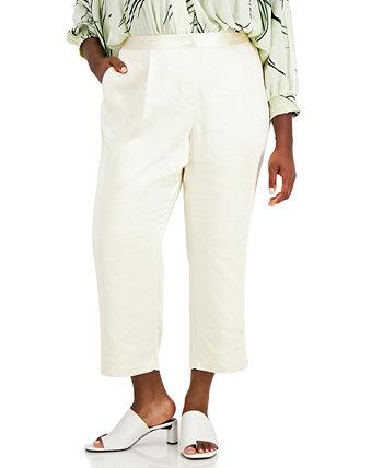 Plus Size Cropped Satin-Trim Pants, Created for Macy's Alfani