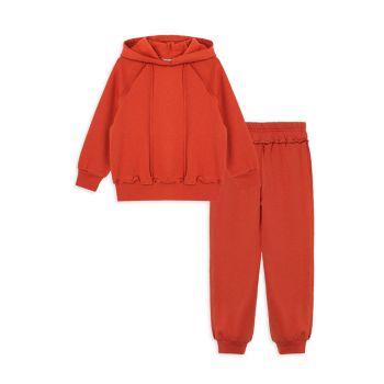 Little Girl's 2-Piece Coverstitch Sweatsuit Set Habitual