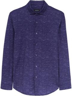 Henri Chambray Printed Ooohcotton Tech Performance Long Sleeve Knit Shirt BUGATCHI