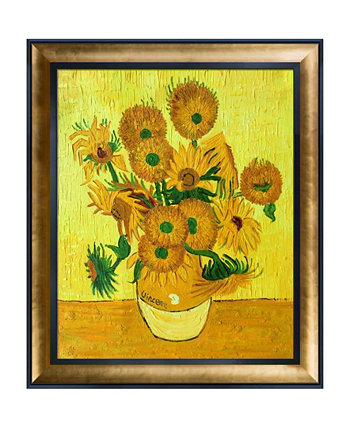 "By Overstockart Vase with Fifteen Sunflowers Custom Stacked Frame, 25.5"" x 29.5"" La Pastiche"