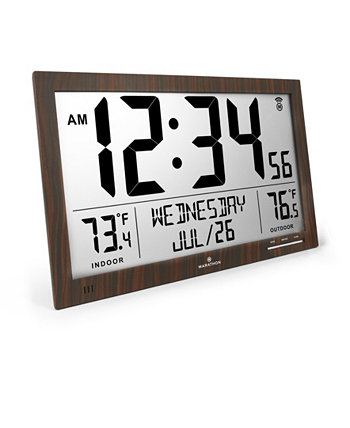 Тонкие атомные часы с полным календарем и температурой в помещении / на улице Marathon