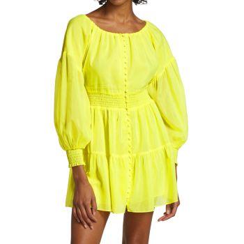 Kiara Puff-Sleeve Mini Dress Alice + Olivia