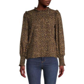 Блуза с леопардовым принтом и оборками Lea & Viola