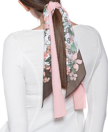Набор шарфов из однотонной твили с цветочным принтом и логотипом Giani Bernini