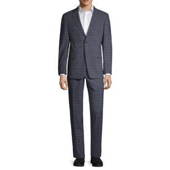 Обычный костюм из смесовой шерсти с оконным стеклом стрейч-кроя Tommy Hilfiger