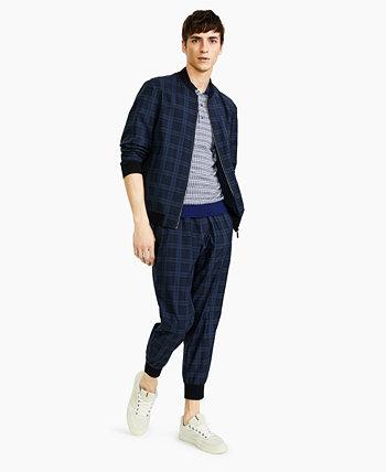 Мужская темно-синяя легкая спортивная куртка из хлопчатобумажного хлопка облегающего кроя Paisley & Gray