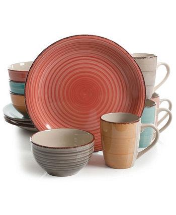 Набор столовой посуды Pastel Stoneware Color Vibes, 12 предметов Gibson