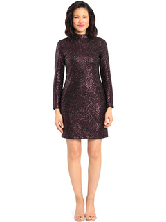 Tinsel Sequin Mock Neck Long Sleeve Maggy London