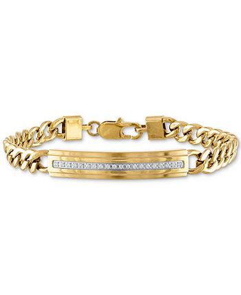 Браслет Diamond ID Plate (1/5 карата) из нержавеющей стали золотистого цвета, созданный для Macy's Esquire Men's Jewelry