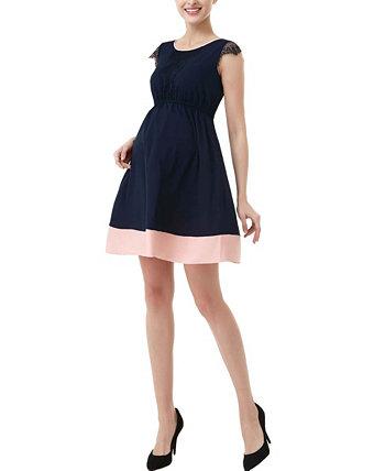 Платье с цветными блоками Nell Maternity с кружевной отделкой Kimi + kai