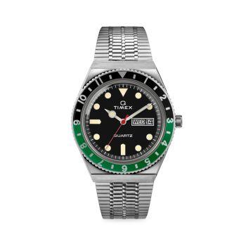 Часы Q с 3 стрелками и браслетом из нержавеющей стали Timex