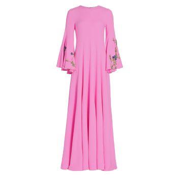 Платье с цветочной вышивкой и бисером Oscar de la Renta