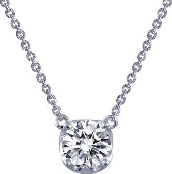 Ожерелье-солитер из стерлингового серебра с платиновым покрытием с имитацией бриллианта LaFonn