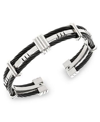 Саттон браслет из нержавеющей стали и черный кабель браслет Sutton by Rhona Sutton