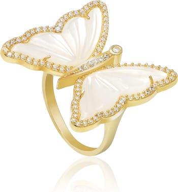 Кольцо Halo Butterfly из желтого золота с вермеилом и перламутром и CZ - Размер 7 Gabi Rielle